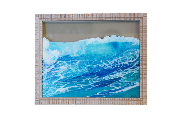 glass ocean wave with grey frame